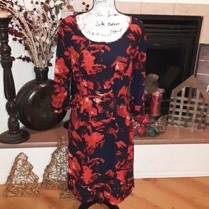 Merona flower navy red dress above knee size M